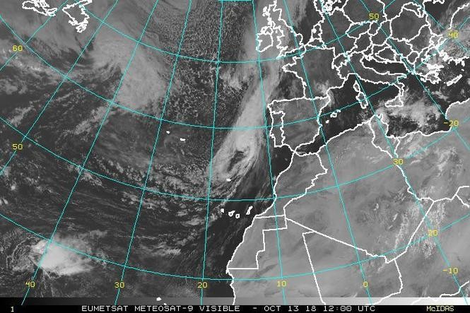 That's Spain, and that's Hurricane Leslie to the west on Saturday. (NOAA)