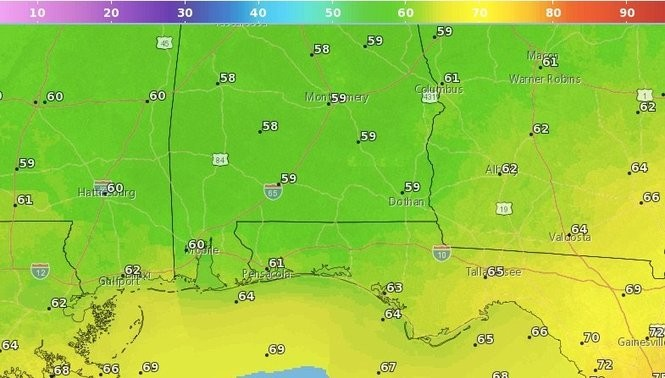 High temperatures for south Alabama on Thursday. (NWS)