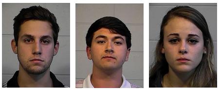 Three students were arrested Sunday. From left: Matthew Gimlin Macia, 22; Brandon James Williford, 21; and Caroline Elizabeth Giddis, 22.
