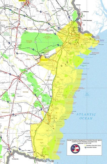 A map showing the evacuation areas along the Georgia coast. (Contributed photo/Gov. Nathan Deal's office)