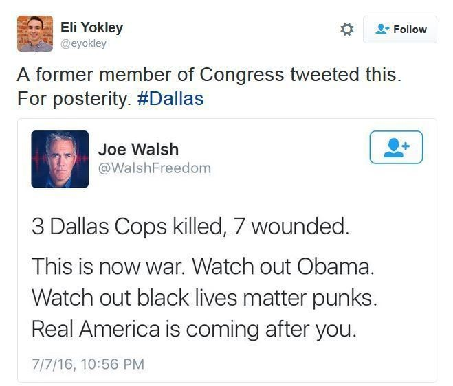 The now-deleted tweet from former Congressman Joe Walsh.