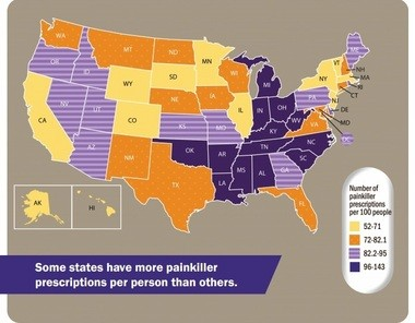 This graphic from the Center for Disease Control and Prevention Vital Signs shows 2012 statistics on the amount of prescription painkillers prescribed per 100 people. The CDC reported Alabama ranked number one as the highest painkiller prescribing state.