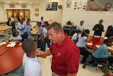 Joe Toomey is shown in 2010, monitoring students in the cafeteria at Denton Middle School. He will start work this week as the new principal at Clark-Shaw Magnet School in west Mobile. (Press-Register file)
