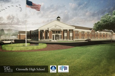 This artist's rendering shows how the new Citronelle High School will look. According to the current construction timetable, the school will be finished in the summer of 2016. (Courtesy of TAG | The Architects Group Inc.)