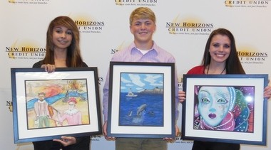 First-place winners in the GoDaddy Bowl and New Horizons Credit Union Art Contest, from left, are Alannah Taylor of Causey Middle School; T.J. Roberts of Theodore High School (in the ninth-10th grade category); and Niki McMullen of Theodore High School (11th-12th-grade category). (Courtesy of the GoDaddy Bowl)