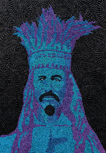 A rendering of Joe Cain made with Mardi Gras beads, by Steve Joynt of the Mobile Mask. (Courtesy of Steve Joynt)