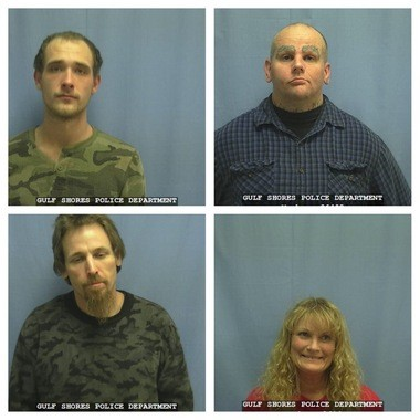 The Gulf Shores Police Department on Monday, Feb. 23, 2015, arrested Tyler Deardorff, 20, of Summerdale, top left, and William McLaughlin, 38, of Foley, top right and charged them with unlawfully manufacturing of a controlled substance. Robert Owens, 44, bottom left, and 55-year-old Marian Sparkman, both of Gulf Shores, were charged with trafficking amphetamine and methamphetamine and unlawfully manufacturing of a controlled substance, each a Class A felony. Additionally, Owens was charged with possession of drug paraphernalia. (Courtesy/Gulf Shores Police Department)