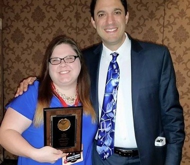 Amanda Scott stands with the president of the American Atheists. (Courtesy Scott)