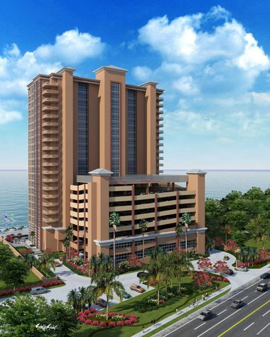 This rendering shows the proposed 21-floor Phoenix Orange Beach condominium to be built on Perdido Beach Boulevard, next to the Hampton Inn & Suites, across from the Publix shopping center, in Orange Beach, Alabama. (Courtesy Brett/Robinson)