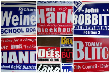 "ABC Signs in Theodore, Ala., has an evolving ""Wall of Fame"" that includes campaign signs consisting of humorous names. The signs are from campaigns ABC Signs produced for campaigns around the country. Which one is your favorite? (John Sharp/jsharp@al.com)."