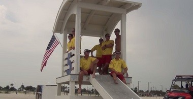 """This is a screenshot from Gulf Shores' video for Good Morning America's """"Lifeguard Surf & Turf Showdown."""""""