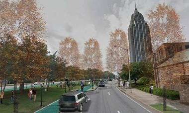 An artist's rendering for a reworked Water Street corridor shows a view southward, with with RSA Battle House Tower on the right. (Courtesy of Mayor Sandy Stimpson's office)