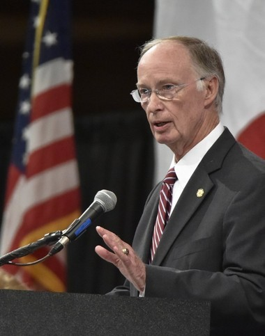 Alabama Governor Robert Bentley speaks at a Chamber of Commerce of Huntsville/Madison County update luncheon at the Von Braun Center in Huntsville Wednesday April 13, 2016. (Bob Gathany/bgathany@AL.com)