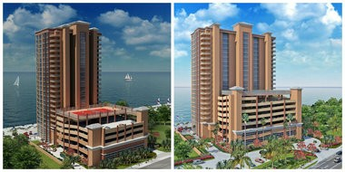 Renderings of the two Phoenix condo projects in (left) Gulf Shores and (right) Orange Beach.
