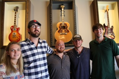 Baseball star Jake Peavy, second from right, and the team at Dauphin Street Sound hope to make it a destination studio rivaling facilities in Nashville and Los Angeles. From left are Ellen Corley, Ben Jernigan and Luke Peavy; at right is engineer Keylan Laxton. (Lawrence Specker/lspecker@al.com)