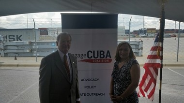 """State senators J.T. """"Jabo"""" Waggoner and Vivian Figures show their support for open trade with Cuba on Tuesday, June 28, 2016. (Lawrence Specker/LSpecker@AL.com)"""
