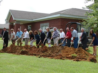 A groundbreaking ceremony was held on Monday, Aug. 15, 2016, on a new addition at Elberta Elementary School. (Photo by Kim Conti)