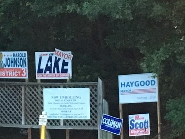 Campaign signs are scattered throughout the Baldwin County city of Daphne ahead of the Aug. 23, 2016, municipal elections. (John Sharp/jsharp@al.com).
