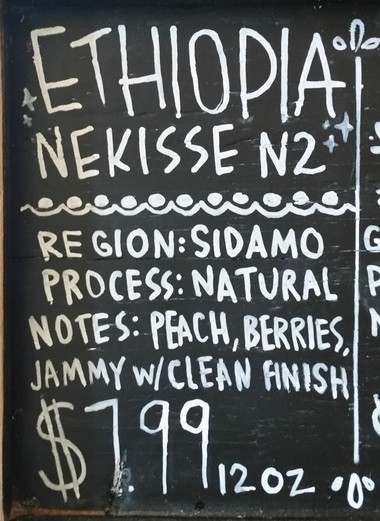A sign at Serda's Coffee in downtown Mobile describes the shop's award-winning Nekisse roast, as served in a French press. (Lawrence Specker/LSpecker@AL.com)