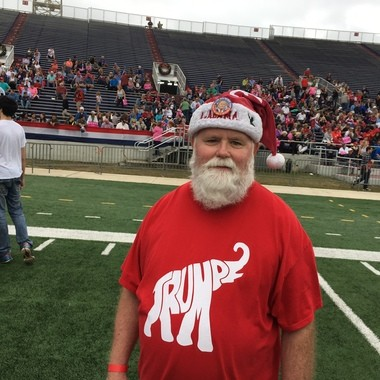 "Foley, Ala., resident David Docter said he believes President-elect Donald Trump will help lead the battle on the ""War on Christmas."" Docter is pictured here during Trump's Mobile, Ala., rally on Saturday, Dec. 17, 2016. (John Sharp/jsharp@al.com)."