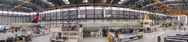 The main building at the Airbus Final Assembly Line in Mobile, Ala., seen here in a panoramic view, has room for four jetliners to sit in line, with plenty of space to spare. The jets advance across the workfloor as they progress through the stages of their assembly. (Lawrence Specker/LSpecker@AL.com)
