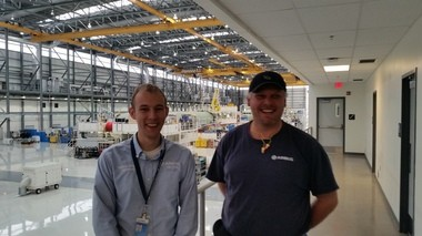 Airbus employees Andrew Sikkens, left, and Richard Ward, are shown at the Final Assembly Line in Mobile. (Lawrence Specker/LSpecker@AL.com)
