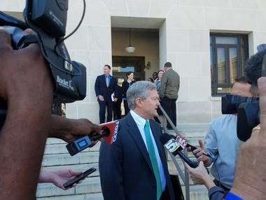 Attorney Dennis Knizley speaks on Thursday after his client, Dr. Xiulu Ruan, was found guilty in a case where he and Dr. John Patrick Couch were accused of running a pill mill. (Lawrence Specker/LSpecker@AL.com)