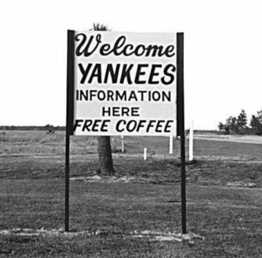 "In 1974, tourism officials in Gulf Shores erected a sign welcoming ""Yankees."" In recent years, Midwestern states are flocking to Alabama's beaches for vacations. But states in the Northeast and West are not. (Source: Mobile Press Register Archives)"