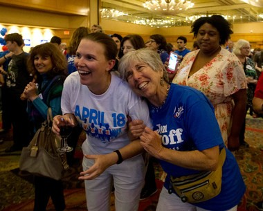 Supporters of Democratic candidate for Georgia's Sixth Congressional Seat Jon Ossoff react during an election-night watch party Tuesday, April 18, 2017. Ossoff nearly won the 50 percent votes needed to avoid a runoff election. (AP Photo/John Bazemore)