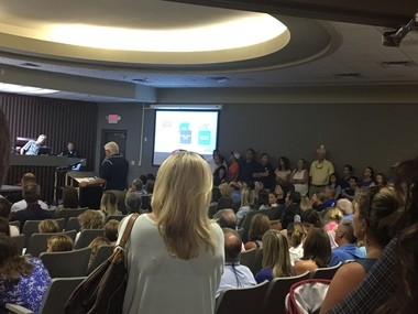 A large crowd of backers for a city school concept crowded into the Gulf Shores City Council chambers during a work session on Monday, July 24, 2017. (John Sharp/jsharp@al.com).