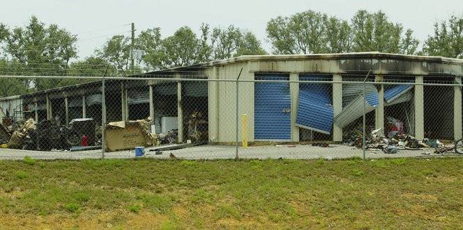 Home-cooked meth was associated with fires and explosions, often at out-of-the way temporary sites. This 2006 photo shows a cluster of storage units in Theodore that were destroyed in a fire believed to have originated in a meth lab. A man was found dead inside the unit. (Mike Kittrell/Press-Register file)