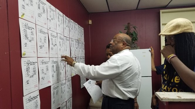 Former Mobile Mayor Sam Jones looks over voter turnout numbers on Tuesday, Aug. 22, 2017, during Mobile's municipal elections. (Lawrence Specker/LSpecker@AL.com)
