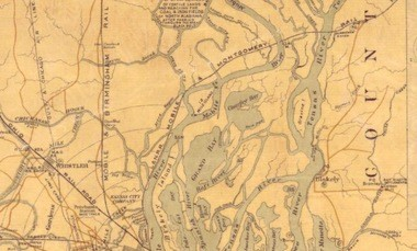 This old map, from 1889, shows the lay of the land in the middle delta. It was this map that may have helped me unravel the fate of the Clotilda.