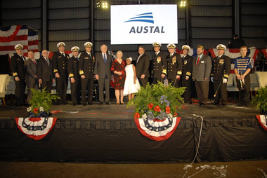 The U.S. Navy's newest vessel, the future USNS Burlington, was christened at Austal's state-of-the-art shipbuilding facility in Mobile on Saturday morning. Marcelle Pomerleau Leahy, wife of Sen. Patrick Leahy served as the ship's sponsor and christened the ship. (Austal USA)