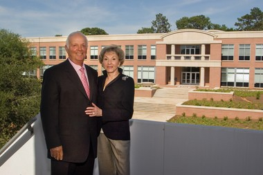 Herbert A. Meisler has donated $5 million to expand the USA Medical Center's Trauma Center, which will be renamed the Fanny R. Meisler Trauma Center. Here, the couple stands in front of Meisler Hall shortly after its construction. Meisler Hall was dedicated in 2006. (photo submitted by the University of South Alabama)
