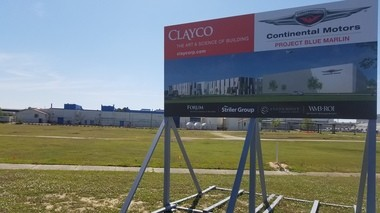 A sign stands on the edge of the site to be developed by Continental Motors. (Lawrence Specker/LSpecker@AL.com)