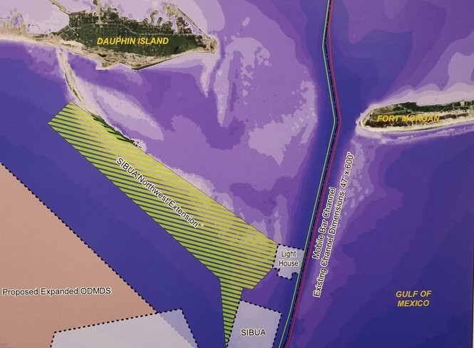 A Corp of Engineers display shows a possible extension of a dredge spoil disposal area off Dauphin Island. The area, cross-hatched in green, could put sand removed from the channel in a place were currents would carry it onto the beaches of the island. (Lawrence Specker/LSpecker@AL.com)