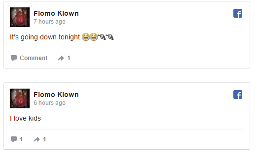 A screenshot taken from the Flomo Klown Facebook page.