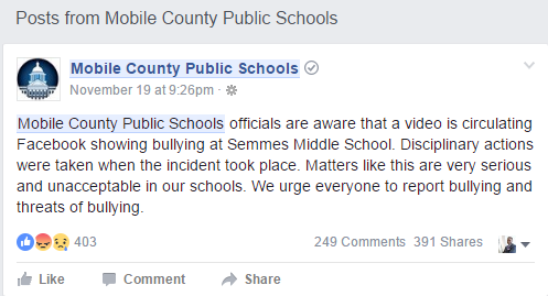 A Semmes Middle School student in Mobile County was bullied and it was all caught on camera and the video has gone viral video on social media.