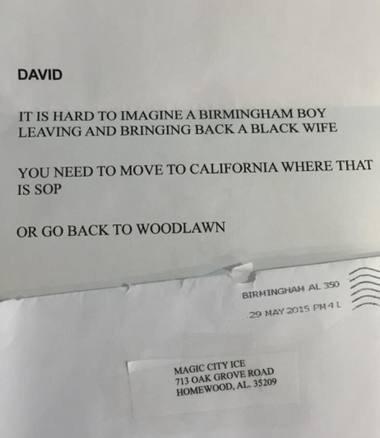 The image of a letter criticizing David Shaw's interracial marriage went viral on Facebook. The writer wasn't brave enough to sign his or her name, or even get the address of the business correct. (Courtesy of the Shaw family)