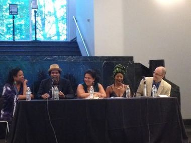 Panelists Susan Diane Mitchell, Sharrif Simmons, Gwendolyn Ferreti Manjarrez, Shirah Robinson and the Rev. Dave Barnhart spoke on issues of race, black identity and the Birmingham community. (Edward T. Bowser | ebowser@al.com)