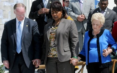 Gov. Robert Bentley, left to right, Bernice King, daughter of Martin Luther King Jr., and Peggy Wallace Kennedy, daughter of former Gov. George Wallace, in a commemoration of the voting rights march from Selma to Montgomery (Julie Bennett/ jbennett@al.com)