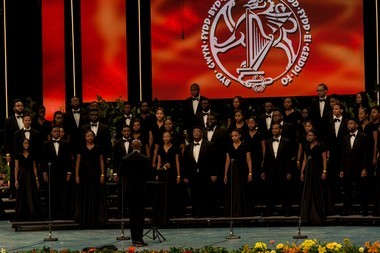 Oakwood University's Aeolians perform at Llangollen International Musical Eisteddfod in Wales, England. The choir's director, Dr. Jason Ferdinand, was named Outstanding Director of the World Choral Festival.