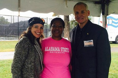 Yariema Akl with Charles Todd Henderson and a campaign worker. (special)