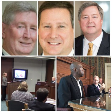 Top, Drummond VP David Roberson and Balch lawyers Joel Gilbert and Steve McKinney, all indicted Thursday. Bottom, Stacie Propst speaks to AEMC, and Oliver Robinson with his lawyer, Richard Jaffe.