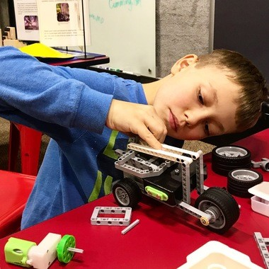 Merrick Debord builds a rover at the U.S. Space & Rocket Center's new Spark Lab. (Contributed by Sarah Debord)