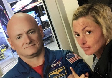 Sarah Debord, right, with a life-size cut-out of Astronaut Scott Kelly, the U.S. astronaut who has spent the most time in space, during a visit to the U.S. Space & Rocket Center. (Contributed by Sarah Debord)