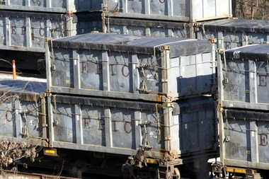 Train cars loaded with sludge for transport to the Big Sky Environmental LLC landfill in Adamsville. Several treatment plants in the Northeast said this week they would no longer ship to Big Sky. (Dennis Pillion)