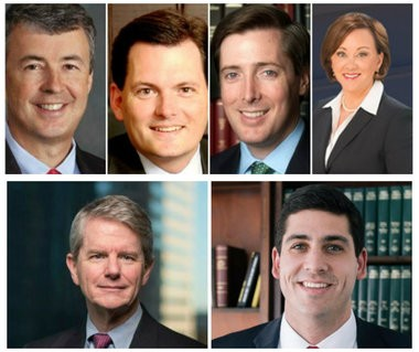 """One top: Republican Alabama AG candidates Steve Marshall, Troy King, Chess Bedsole and Alice Martin. Botton"""" Chris Christie and Joseph Siegelman."""