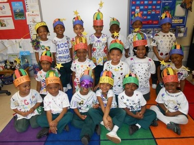 The preschoolers at Just 4 Developmental Lab marked the first hundred days of school on Jan. 28. Some of those who personalized their Mardi Gras shirts with 100 different items were, front row, from left: Cameron Banks, Antwone Ratliff, Katavin Bumpers, Aniyah Rocker, Aaliyah Wallace, Ja'ÂLeah Nelson; middle row, Laila Minor, Joss Wicks, Caleb Wilson, Jayde Robinson, Samyah James-Wright; back row: Lelani Adams, Josiah Morrissette, Autumn Campbell, A'mari Robinson, Avery Sank, Kyndal Williams and Teiana James (Courtesy of Just 4 Principal Linda Blassingame)